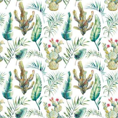 Papiers peints Palmier d'été, cactus et banane feuilles modèle sans couture. Branches vertes aquarelles et fleurs succulentes sur fond blanc. Design de papier peint exotique