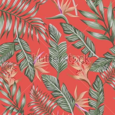 Papiers peints Palmier tropical tropical exotiques feuilles brun fleurs tropicales oiseau de paradis (strelizia) vectoriel continuer modèle tendance fond de corail vivant