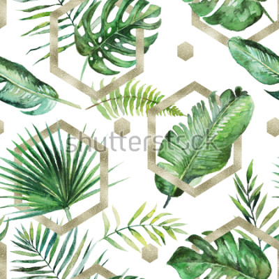 Papiers peints Palmier tropical vert & feuilles de fougère avec des formes géométriques or sur fond blanc. Aquarelle peinte modèle sans couture. Illustration tropicale. Feuillage de jungle.