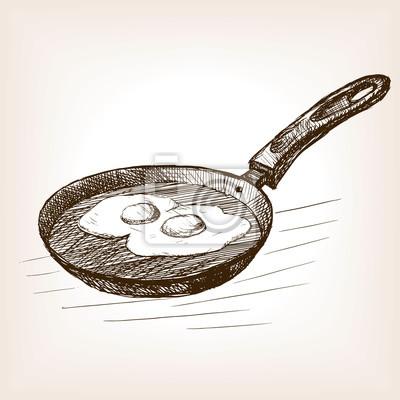 Pan, oeufs, main, dessiné, croquis, style, vecteur
