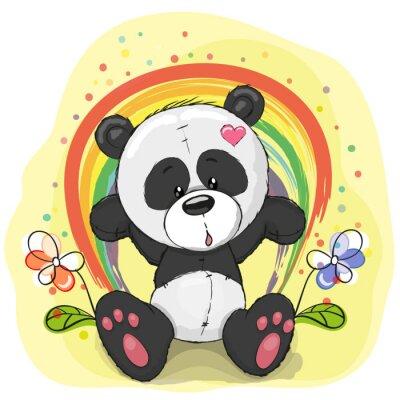 Papiers peints Panda avec arc en ciel