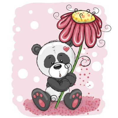 Papiers peints Panda avec des fleurs