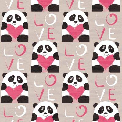 Papiers peints Panda, coeur, seamless, modèle