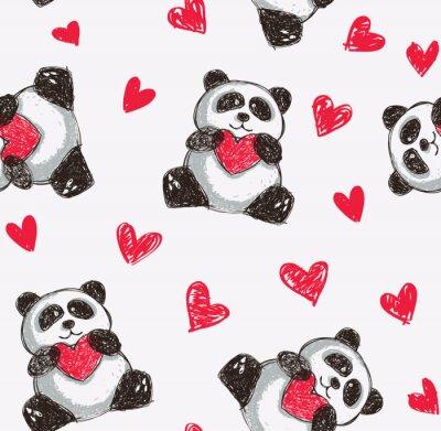 Papiers peints panda coeur tenant de fond sans soudure