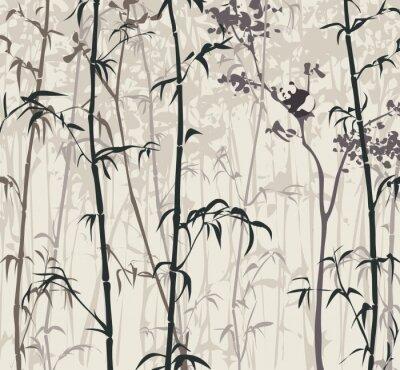 Papiers peints Panda dans la forêt de bambou