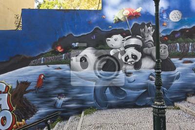 Papiers peints Panda Graffiti à Lisbonne, Calçada do Lavra dans la rue publique