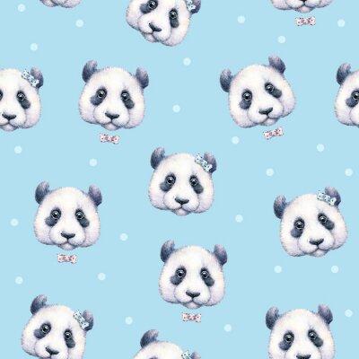 Papiers peints Pandas sur fond bleu clair. Modèle sans soudure. Dessin aquarelle. Illustration d'enfants. Travail manuel