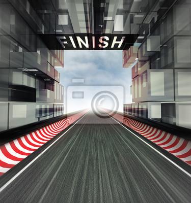 panneau de finition au-dessus de piste dans l'espace de la ville moderne