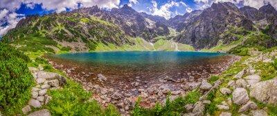 Papiers peints Panorama, beau, Étang, milieu, montagnes, aube