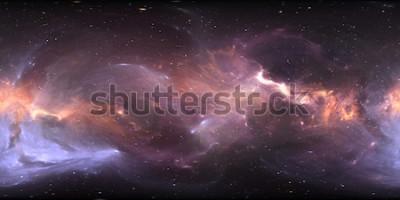 Papiers peints Panorama de la nébuleuse spatiale à 360 degrés, projection équirectangulaire, carte de l'environnement. Panorama sphérique HDRI. Fond de l'espace avec la nébuleuse et les étoiles. Illustration