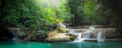 Papiers peints Panorama Erawan cascade, la belle cascade dans la forêt à Erawan National Park - Une belle cascade sur la rivière Kwai. Kanchanaburi, Thaïlande