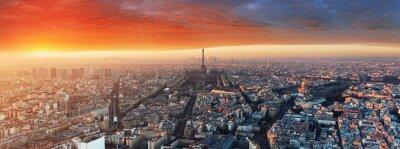 Papiers peints Panorama, Paris, Coucher soleil, Cityscape