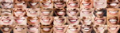 Papiers peints Panoramic collage of multiethnic people white smiles