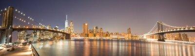 Papiers peints Panoramic View Manhattan Bridge, Brooklyn Bridge and Manhattan Skyline at night