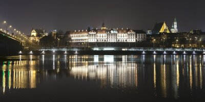 Papiers peints Panoramic view of Warsaw waterfront by night.