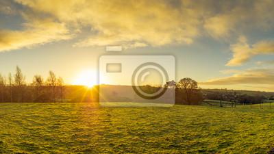 Papiers peints Panoramique, vue, nord, Irlande, campagne, matin, lever soleil