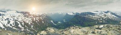 Papiers peints Panoramique, vue, Norvège, montagne, paysage