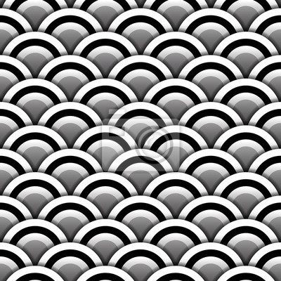 Papier Cercles Ombre Noir Blanc Seamless Modele Vecteur