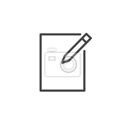 Papier et stylo, écrire ligne icône, contour vector signe, pictogramme papier peint • papiers ...