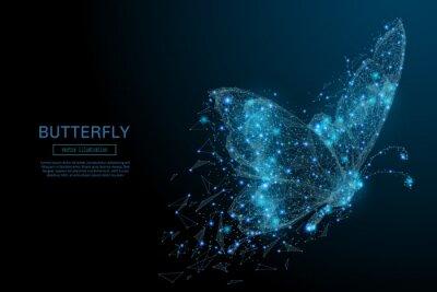 Papiers peints Papillon composé de polygone. Faible illustration poly vecteur d'un ciel étoilé ou Comos. Le flyer numérique se compose de lignes, de points et de formes. Structure de connexion légère à la technologi