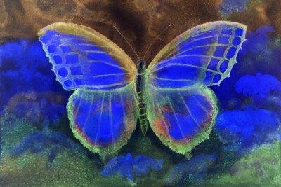 Papiers peints Papillon dans un monde fantastique. La technique dabbing donne un effet de focalisation douce en raison de la rugosité de surface altérée du papier.