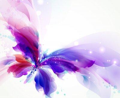 Papiers peints Papillon volant abstrait avec des taches bleues, violettes et cyan