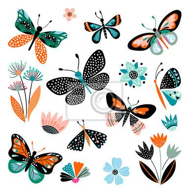 Papiers peints Papillons et fleurs, collection dessinée à la main de différents éléments, isolé sur blanc