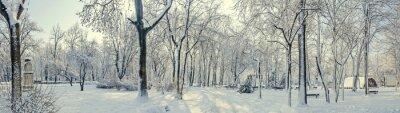 Papiers peints Parc public de l'Europe avec des arbres et des branches couvertes de neige et de glace, bancs, poteau lumineux, paysage.