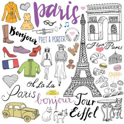 Papiers peints Paris doodles éléments. Main, dessiné, ensemble, tour, eiffel, élevé, café, taxi, triumf, voûte, mode, éléments, chat, français, bouledogue Dessin, doodle, collection, lettrage, isolé, blanc