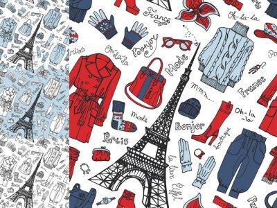 Papiers peints Paris Fashion.Clothing seamless doodle set.Tricolor