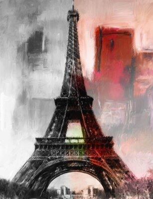 Papiers peints Paris Gemälde tour Eiffel Eifelturm Bild Kunst Ölgemälde