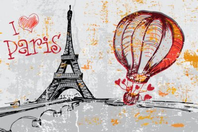 Papiers peints Paris, grunge, fond, tour Eiffel