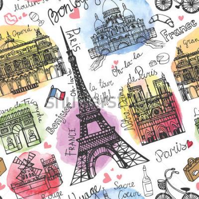 Papiers peints Paris landmark, lettrage modèle sans couture. Stein aquarelle. Doodle Vintage. En français bon voyage, bonjour, Notre Dame, Tour Eiffel, Sacré Cœur, Grand Opéra, Arc de Triomphe, Moulin Rouge.Vector