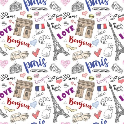 Papiers peints Paris, seamless, modèle, à, main, dessiné, croquis, éléments, -, eiffel, tour, triumf, voûte, Dessiner, doodle, vecteur, Illustration, isolé, blanc