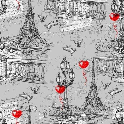Papiers peints Paris. Vintage seamless pattern  3
