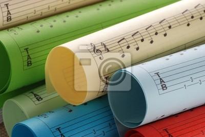 partitions musicales colorées - Trois