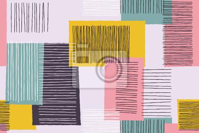Patchwork abstrait de motif art lignes géométriques. Vector giclee doodle croquis patch travail ou oeuvre avec des formes carrées sur fond blanc