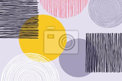 Patchwork abstrait de vecteur doodle croquis patch travail ou oeuvre avec des formes géométriques cercle et ligne sur fond blanc