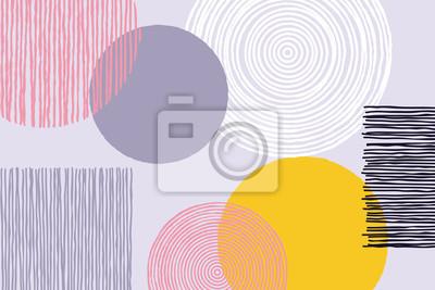 Patchwork abstrait ligne géométrique art de fond du vecteur doodle croquis travail ou oeuvre avec formes de cercle et suqare giclee sur fond blanc