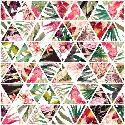 Papiers peints Patchwork tropical aquarelle