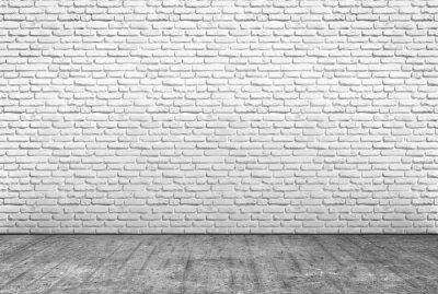 Papiers peints Pavimento en cemento e muro en mattoni bianchi