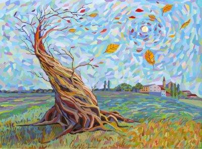 paysage avec des arbres dans le style graphique