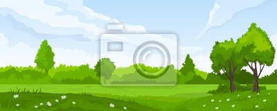 Papiers peints Paysage d'été avec des champs et des collines verdoyantes