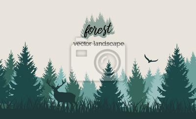 Papiers peints Paysage de forêt vintage Vector avec des silhouettes bleu et grees des arbres et des animaux sauvages