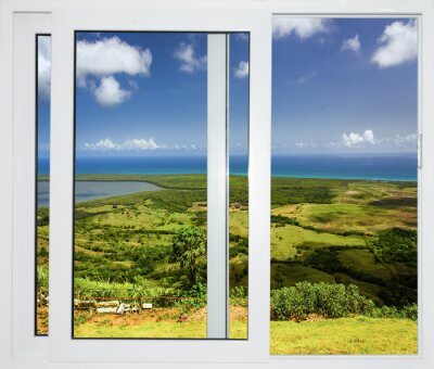 Papiers peints Paysage de la nature avec une vue à travers une fenêtre