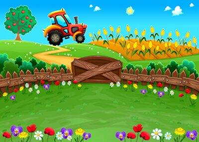 Papiers peints Paysage drôle avec le tracteur et le champ de maïs.