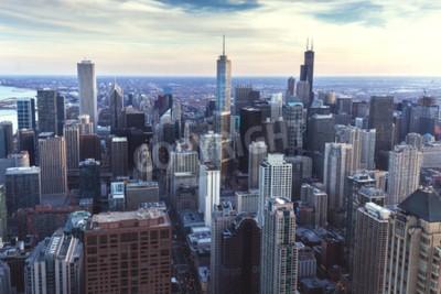 Papiers peints Paysage urbain du centre-ville de Chicago avec gratte-ciel, vue aérienne ou des yeux d'oiseaux, journée nuageuse. Illinois, États-Unis.