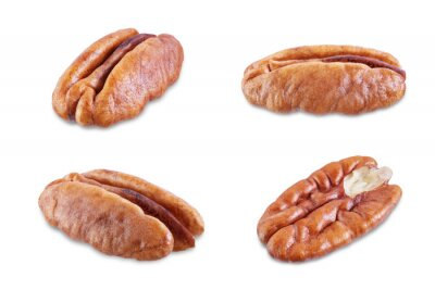 Pecan nuts on a white isolated background