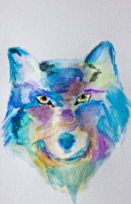 Papiers peints Peinture à l'aquarelle Loup sur fond d'album blanc. Technique humide. Bleu pourpre nuances. Art moderne. Loisir.