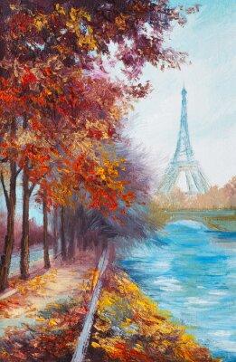 Papiers peints Peinture à l'huile de la Tour Eiffel, France, paysage d'automne